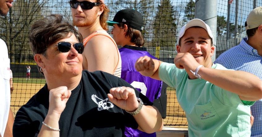 Coach Lynn and students having fun