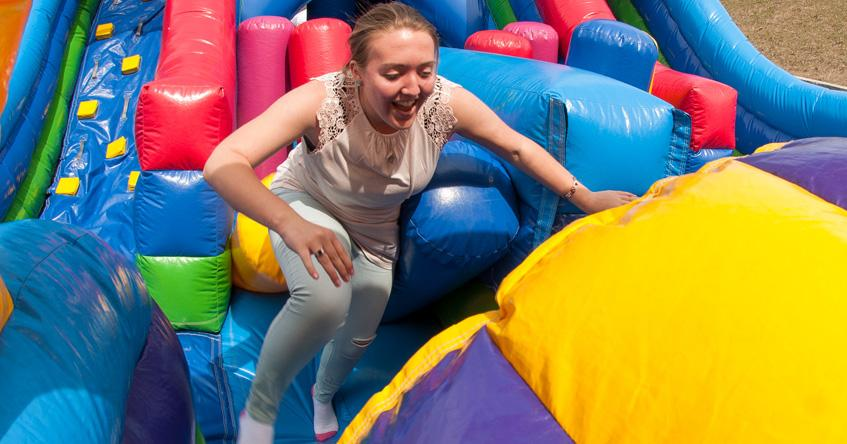 Inflatable fun at Founders' Day