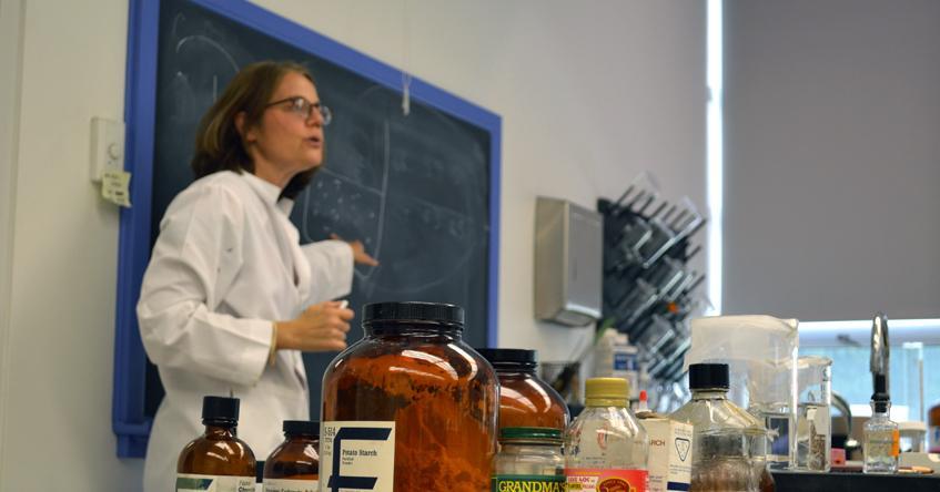Jeanette Dumas, PhD teaching a biology class