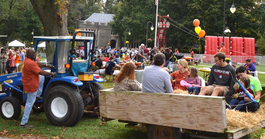 Hay rides for families at family weekend