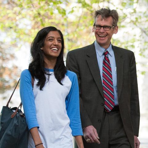 Krista Vadaketh with provost Dr. Chris Dougherty