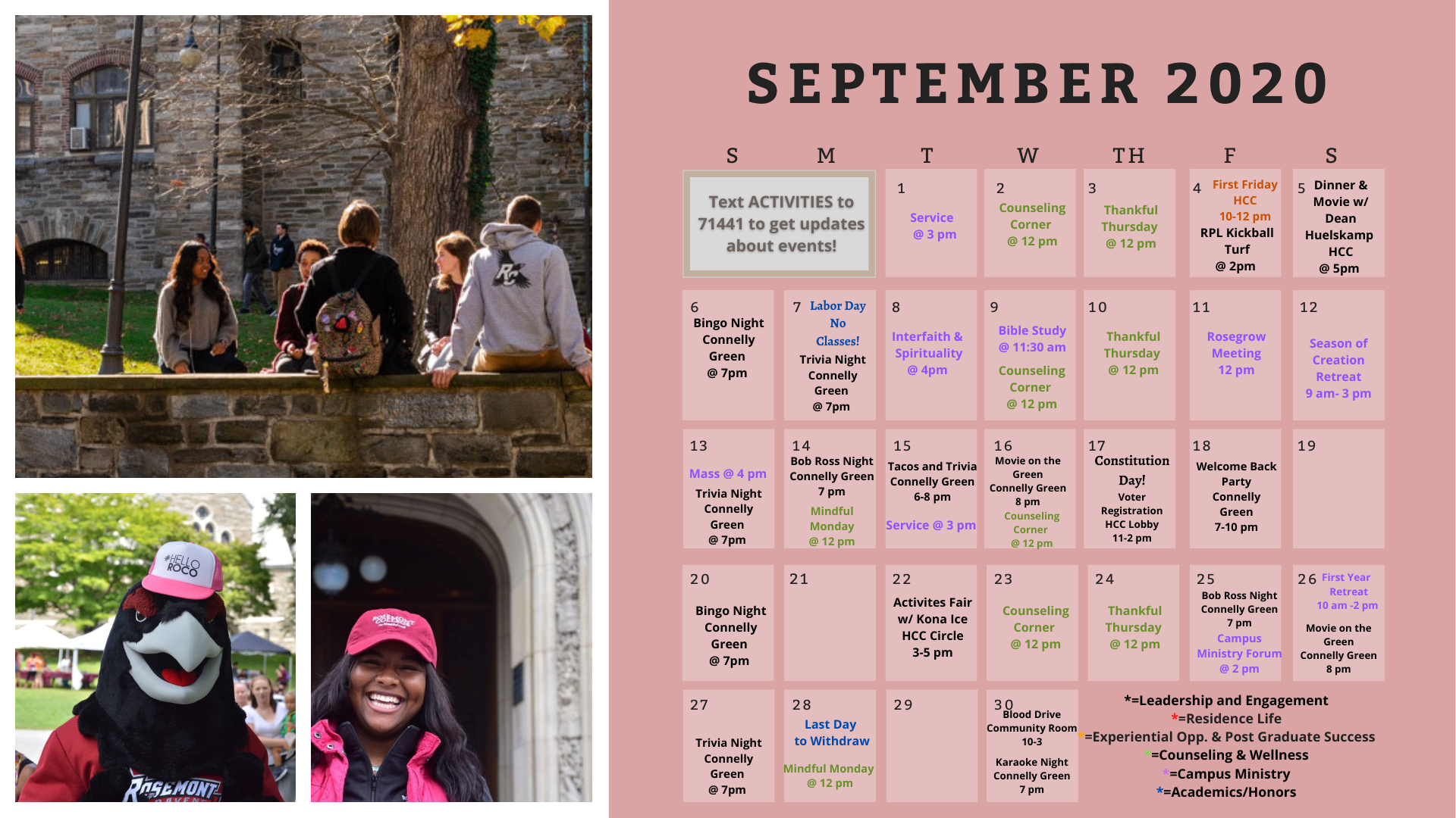 a graphic of the swtudent activities in September. For more info email jessica.burns@rosemont.edu