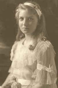 Black and white portait of Gertrude Kistler
