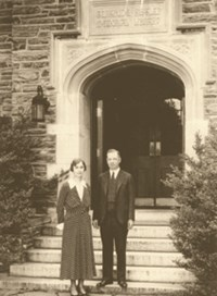 Black and white picture of Mr. and Mrs. Kistler outside of the Hertrude Kistler Memorial Library