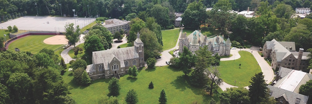 Aerial view of Rosemont College campus in Spring or Summer.