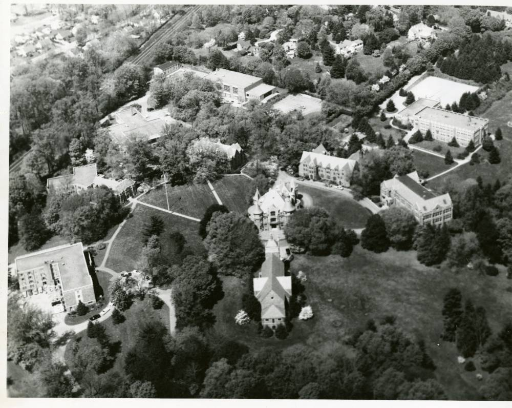 Aerial view of campus from 1961.