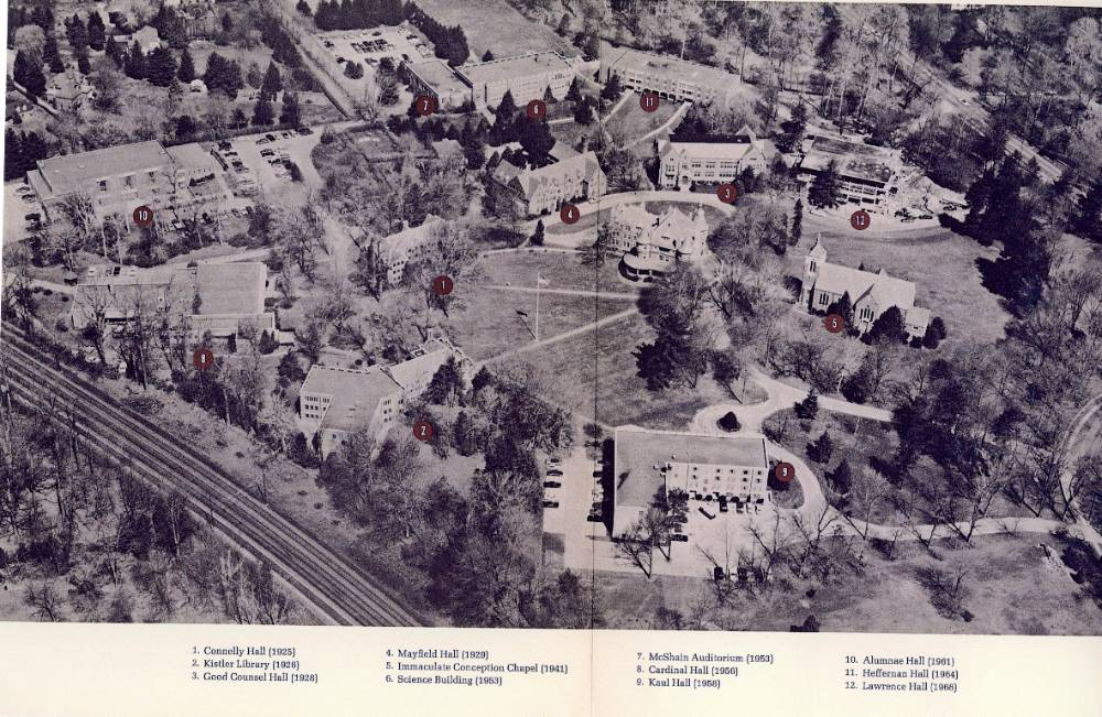 Aerial view of campus from 1968.