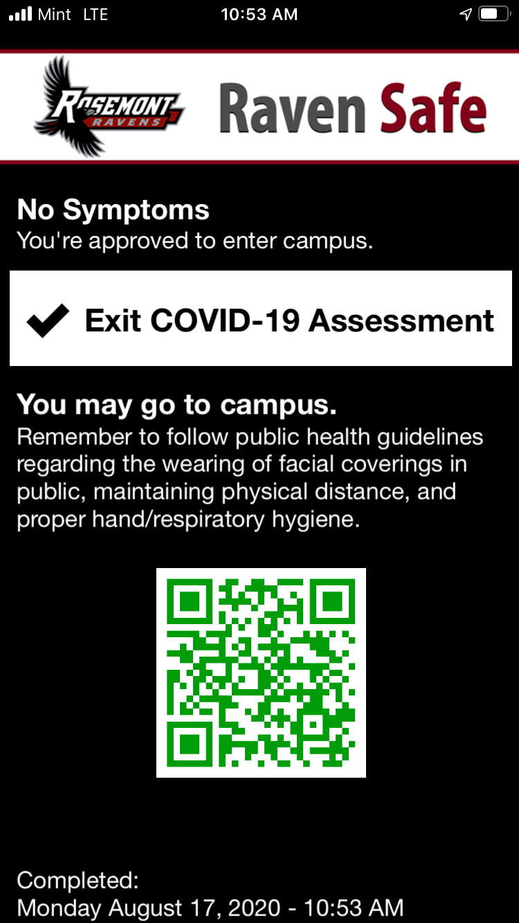 screen shot of Raven Safe App on iphone