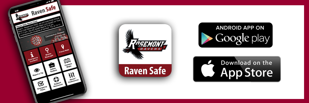 picture of the Raven Safe App with icons for downloading it from the apple store and google play