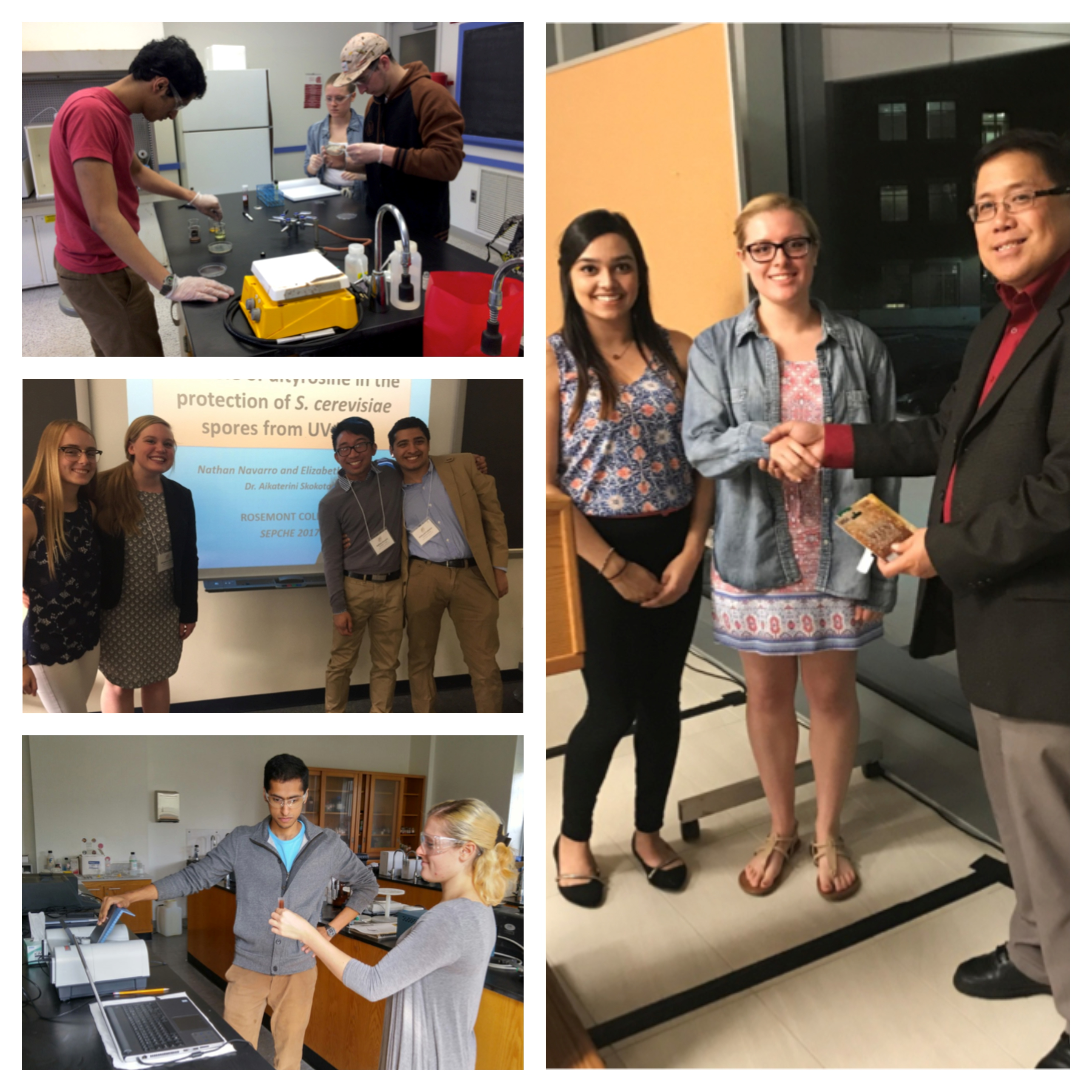 Collage of Rosemont chemistry students doing research and winning awards.
