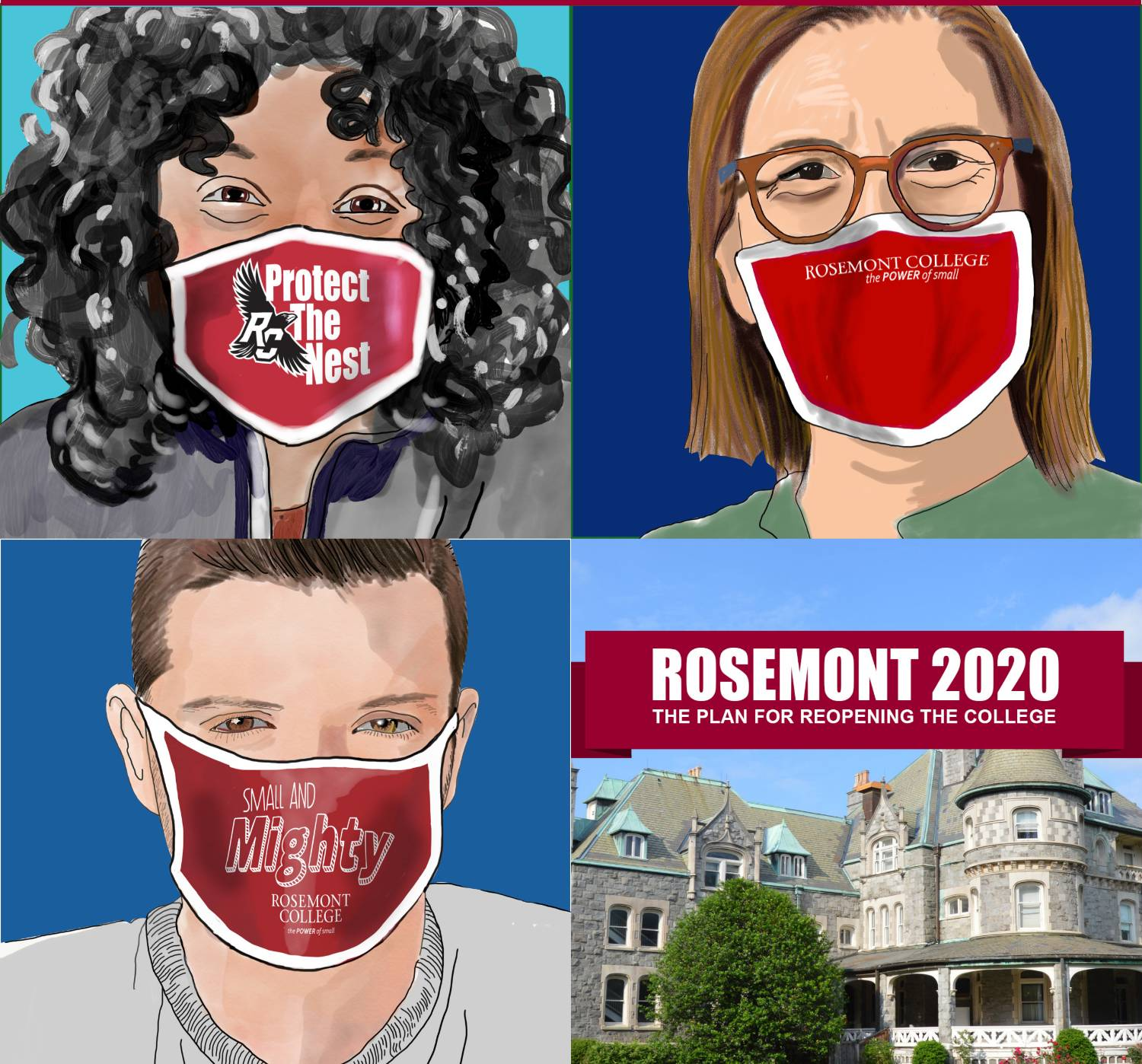 "Graphic that depicts four people wearing face masks that say ""Rosemont College""."
